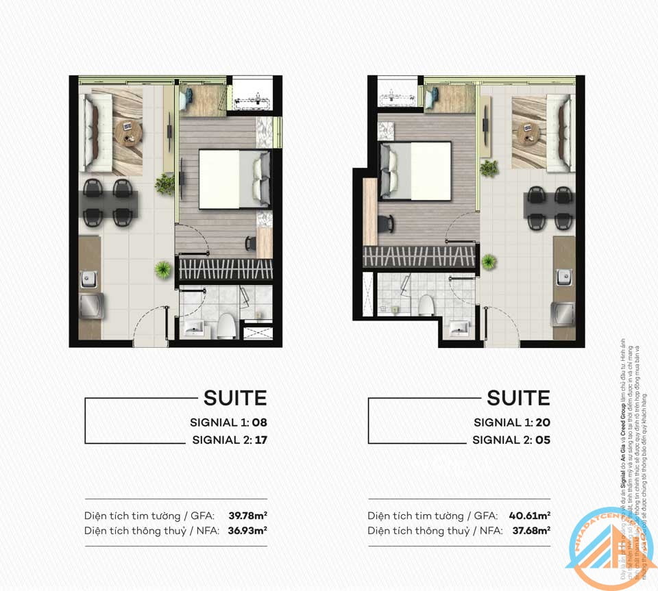 mat bang deluxe can ho signial 40m2 smartel an gia 1